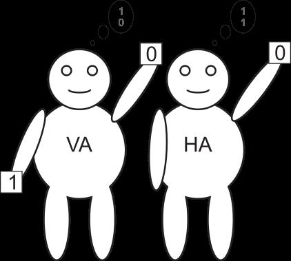 VA hat Summe 0 und Übertrag 1.