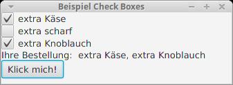 Drei Check Boxes zur Bestellung von extra Zutaten bei einer Pizza.
