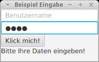 Anwendung mit Text und Password Field.