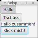 """Eine JavaFX-Anwendung mit zwei Toggle Button """"Hallo"""" und """"Tschüss""""."""