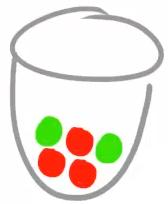 Unsere Urne mit den grünen und roten Kugeln.