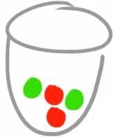 Ist die erste Kugel rot, bleiben noch 2 rote und zwei grüne Kugeln übrig.
