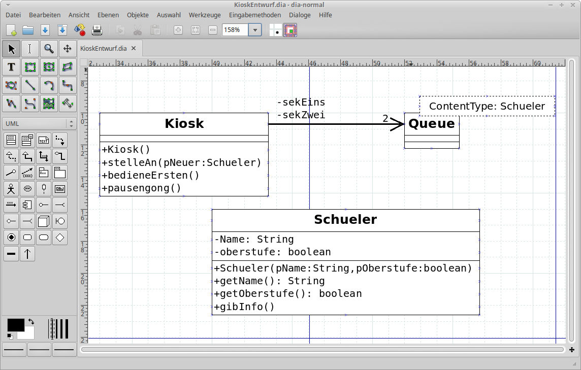 UML-Diagramm in Dia