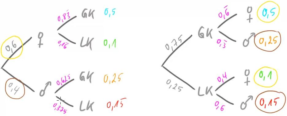 Beide Baumdiagramme im Vergleich
