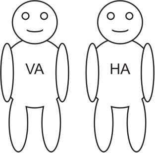 Zwei Figuren mit Aufschriften VA und HA.
