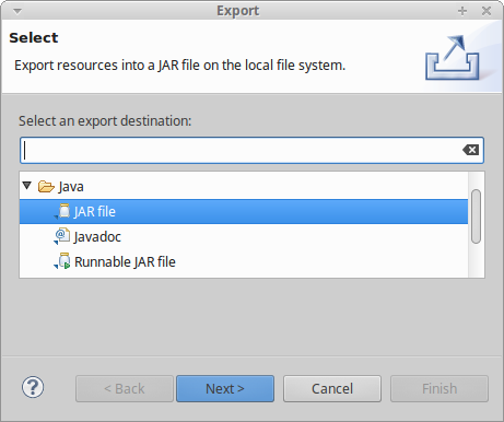 Export-Dialog in Eclipse